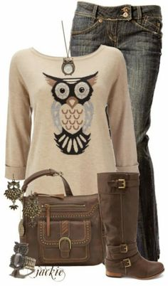 Owl Print Full Sleeves Sweater With Long Boots and Casual Jeans