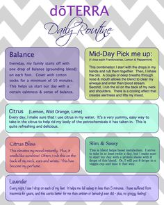 Daily Routine using essential oils. I have never felt better more grounded before. Everyday living at peace.   doTERRA with Megan +++ Visit our website and get your free recipes now!