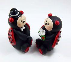 Ladybugs Wedding Cake Topper by HeartshapedCreations