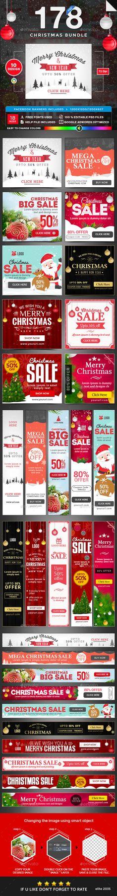 Christmas Banners Bundle - 10 Sets - 178 Banners