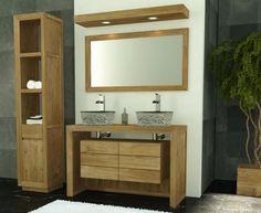 Pack - Meuble de salle de bain en teck Groix 120