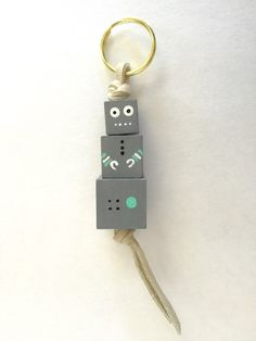 Mr. Roboto Wooden Bead Robot Necklace or Keychain - Grey