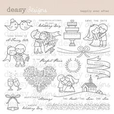 Digital Stamp Art Happily Ever After by DeasyDesigns on Etsy