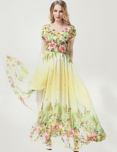 online shopping for TLH Women's Plus Size Chiffon Summer Beach Flower Print Long Maxi Dress High Waist from top store. See new offer for TLH Women's Plus Size Chiffon Summer Beach Flower Print Long Maxi Dress High Waist Chiffon Maxi, Maxi Dress Wedding, Long Summer Dresses, Dress Summer, Dress Silhouette, Plus Size Maxi Dresses, Plus Size Womens Clothing, Evening Gowns, Ideias Fashion