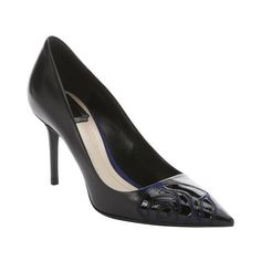 Christian Dior Black leather rose detail pumps ($547) ❤ liked on Polyvore featuring shoes, pumps, stiletto pumps, black pointed-toe pumps, pointy-toe pumps, leather sole shoes and black pumps