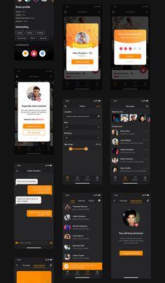 App Ui Design, Interface Design, Mobile App Ui, Black And White Aesthetic, Ui Elements, Dating Apps, Ui Kit, Mobile Design, Red Burger