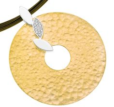 Jorge Revilla Infinito Collection circle pendant in sterling silver with an 18k yellow gold overlay and hammered finish #JorgeRevilla #sterlingsilver #yellowgold
