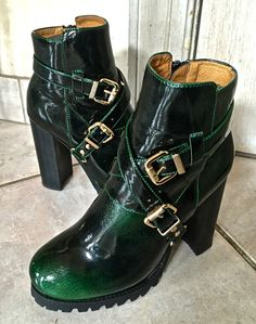 Jeffrey Campbell green ombre patent leather Mercer Buckled Ankle Boots NIB 8 #JeffreyCampbell #buckleankleboots