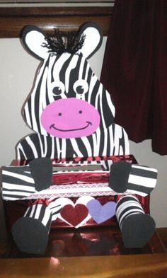 Zebra valentines box Valentines Games, Valentine Day Boxes, Valentines Day Decorations, Valentine Ideas, Christmas Decorations, Family Crafts, Crafts For Kids, Valintines Day, Fun Ideas