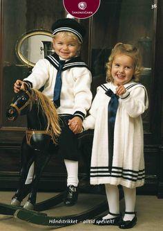 Kit 36 - Matrosdress/kjole Knitting For Kids, Baby Knitting Patterns, Baby Barn, Needlework, Doll Clothes, Knit Crochet, Fashion Beauty, Hipster, Children