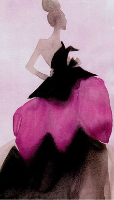 Illustration by Mats Gustafson (Swedish, b. 1951). Christian Dior Haute Couture.