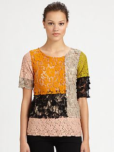 Moschino Cheap And Chic Patchwork Lace Tee