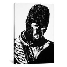 iART Banksy Crying Terrorist Ski Mask Print Wall Art