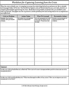Worksheet for capturing learning from the crisis