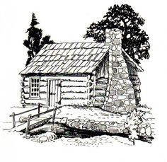 log cabin coloring pages - Google Search