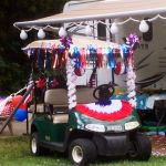 Patriotic golf car during the 4th of July at Lake Rudolph.