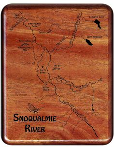 Fly Box  SNOQUALMIE RIVER MAP  Handcrafted by StoneflyStudio Fish Artwork, Playing Card Box, Fly Fishing Gear, Barrel Hinges, Map Design, Custom Map, Groomsman Gifts, Laser Engraving, 3 D