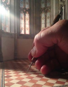 See How a Brooklyn Artist is Creating a Miniature Scale-Model of a Gothic Cathedral from Scratch,Apse Floor. Image Courtesy of Ryan McAmis Dollhouse Miniature Tutorials, Miniature Dolls, Dollhouse Miniatures, Brooklyn, Scale Models, Minis, Doll House Flooring, Gothic Cathedral, Tiny World