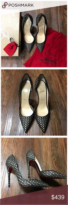 a0850f5b6516 CHRISTIAN LOUBOUTIN • IRIZA DESCRIPTION - Like New Beautiful Christian  Louboutin Iriza 20 Glitter Floque Heels