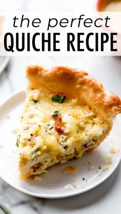 Learn how to make the perfect quiche recipe with homemade pie crust, eggs, Bacon Recipes, Brunch Recipes, Dinner Recipes, Cooking Recipes, Simple Quiche Recipes, Healthy Quiche Recipes, Recipes With Bacon, Veggie Recipes, Breakfast Quiche