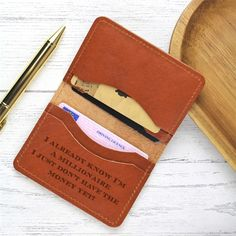 This slim genuine leather card wallet engraved in our studio on the Isle of Wight to order is a great gift for the man in your life, or for Dad on Father's Day. Engraved with up to 3 initials along th. Funny Gifts For Him, Gifts For Dad, Leather Card Wallet, The Ordinary, Boyfriend Gifts, Tan Leather, Personalized Gifts, Initials, Best Gifts