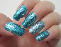 Kleancolor Metallic Aqua  OPI Gone Gonzo  China Glaze Lorelei's Tiara