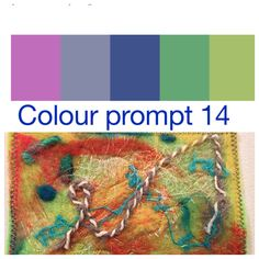 Colour prompt 14 - all but the pinky colour can be found in this small needle felted piece. Love this colour palette.