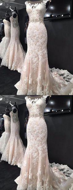 Elegant Scoop Neck wedding dresses, Sleeveless Sweep Train classic bride dresses, Appliques Beading shiny dresses for wedding party dresses, Mermaid bodycon Wedding Dresses