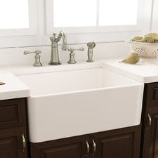 Features:  -Kitchen sink.  -Single bowl.  -Removable grid: Yes.  Installation Type: -Farmhouse/Apron.  Finish: -White.  Material: -Fireclay.  Number of Basins: -1.  Sink Shape: -Rectangular.  Number o
