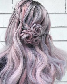 Lavender Hair With Gentle Highlights; Adorable S… Lavender Hair With Gentle Highlights; Adorable Silver Lavender Hair Trend in 2019 Ombre Curly Hair, Dyed Hair, Curly Hair Styles, Silver Lavender Hair, Lilac Hair, French Braid Hairstyles, Box Braids Hairstyles, Rose Hairstyle, Rose Braid