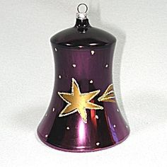 Purple Shooting Star Blown Glass Bell Christmas Ornament