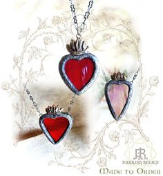 a symbol of divine love  Hand cut Stained Glass with textured waves of deep red, set in a highly detailed heart frame.  Custom made for you, in six