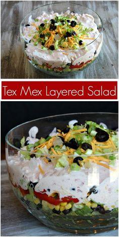 recipegirlcom recipegirl layered recipe texmex salad from tex mex Tex Mex Layered Salad recipe from Tex Mex Layered Salad recipe from Mexican Salads, Mexican Dishes, Mexican Food Recipes, Tex Mex, Tamales, Quesadillas, Empanadas, Burritos, Nachos
