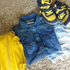 European Brand Clockhouse Button Down Shirt Soft denim material. Clockhouse Tops Button Down Shirts