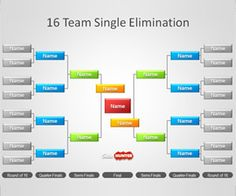 Free Tournament Brackets Template for PowerPoint is a simple tournament brackets template that you can use to organize your sport tournaments for 8 teams and 16 teams eliminations