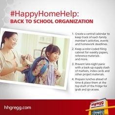 #HappyHomeHelp: The kids are heading back to school, and organization is key to working smarter, not harder. Check out a few tips for getting organized in time for back to school season.