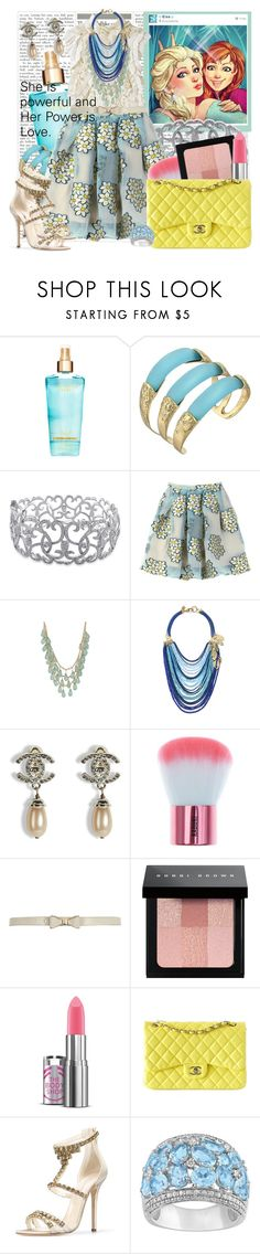 """""""She is powerful and Her Power is Love."""" by meenaxi ❤ liked on Polyvore featuring MM Couture by Miss Me, Alexis Bittar, Ice, RED Valentino, Forever 21, Sequin, Chanel, River Island, Bobbi Brown Cosmetics and Oscar de la Renta"""