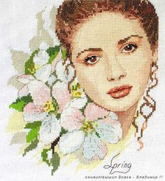 point de croix fille romantique et bouquet de fleurs - cross stitch romantic girl with bunch of flowers