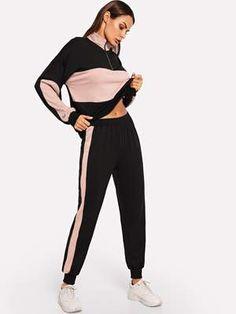 Zip Front Two Tone Sweatshirt and Sweatpants Set Tone Autumn Fashion Casual, Winter Fashion, Casual Fall, Autumn Street Style, Autumn Style, Athleisure Fashion, Active Wear For Women, Leggings Fashion, Summer Outfits