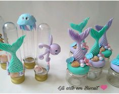 Mermaid Theme Birthday, Mermaid Cakes, Polymer Clay Crafts, Biscuit, Birthday Decorations, Fondant, Birthday Parties, Baby Shower, Party