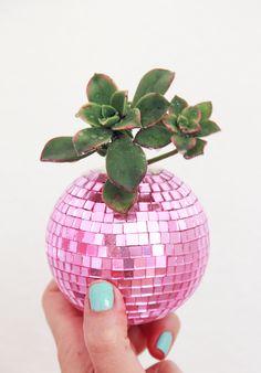 A Bubbly Life: DIY Disco Ball Succulent Planters