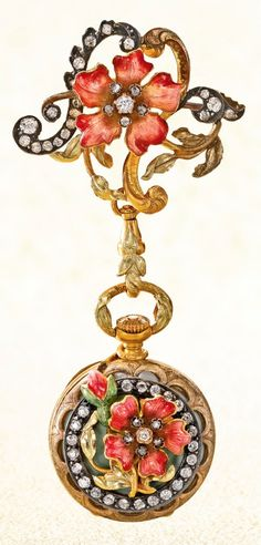 BLACK STARR & FROST A YELLOW GOLD, ENAMEL AND DIAMOND-SET PENDANT WATCH WITH BROOCH CIRCA 1900