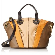 Brown Leather orYANY Handbag Gorgeous multi-colored medium-sized handbag. Very sturdy purse with lovely soft leather and gold hardware with a removable shoulder strap. NWT never worn. 100% Leather - Cotton lining - Zipper Closure. Dimensions: 15.6 x 12 x 2.2 inches orYANY Bags Shoulder Bags