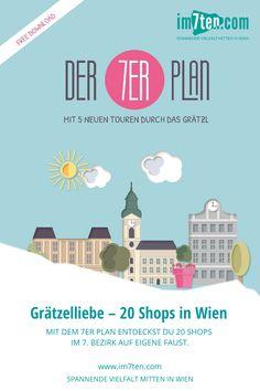 Gemeinsam mit dem 7er Plan kannst du in fünf Spaziergängen durch Wien Neubau, 20 außergewöhnliche und einzigartige Shops kennen lernen. Der 7er Plan nimmt dich mit auf eine Entdeckungsreise durch den 7. Bezirk von Wien und gibt dir Einblick in Handwerk, Kunst und vieles mehr.  Hol dir den gratis Download hier oder die Printversion in einem der Shops in der Westbahnstraße, Neubaugasse oder Kaiserstraße.  #im7ten #neubau #wien #grätzelliebe #entdecken #Stadtspaziergang #vienna #sightseeing Gratis Download, Planer, Desktop Screenshot, Blog, Shops, Map, New Construction, Tours, Explore