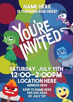 Inside Out Birthday Party Invitation by DesignedByNick on Etsy
