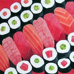 I was first attracted to the landscape (and cityscape) aerial paintings by Toni Silber-Delerive. But this is the most creative portrayal of sushi I've ever seen.