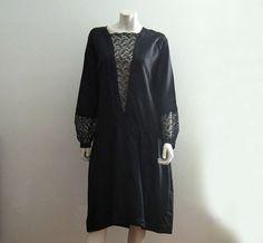 1920s Dress / 20s Silk Dress / Black Silk Lace by AntiqueGraces