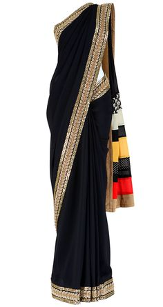 Black georgette saree with a multi printed striped pallu in red, yellow and white. It comes with a matching blouse piece.