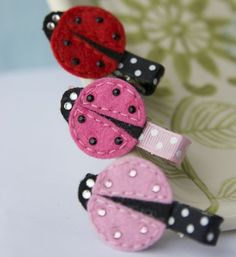 Ladybug Sparkle Hair Clip in Hot Pink Pink or by MyLittlePixies