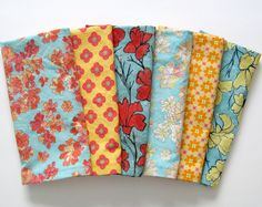 Large Cloth Napkins - Set of 6 - Red Teal Blue Orange Yellow Floral